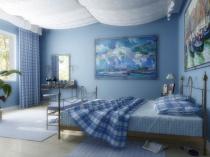 Тематические картины в морском интерьере спальни