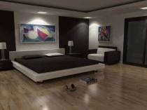 Абстрактные картины в интерьере монохромной спальни
