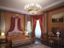 Спальня в классическом стиле с позолоченными колонами из лепнины