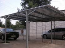Конструкция простого навеса из металлопрофиля для авто