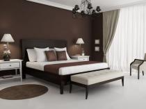 Коричнево-белая гамма для интерьера спальни в стиле минимализм