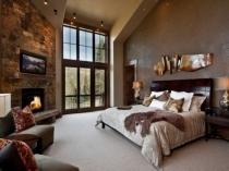 Природные коричневые оттенки в создании интерьера спальни эко стиля