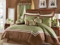 Использование оливкового и светло-коричневого цвета в дизайне маленькой спальни