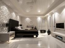 Красивые серебристые обои в отделке спальни