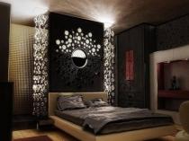 Красивые светильники-гирлянды в спальне