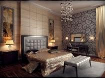 Спальня в стиле арт деко с красивой люстрой на подвесах