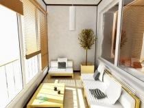 Дизайн зоны отдыха широкой лоджии
