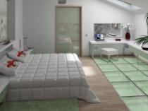 внутренний интерьер спальни мансардного типа на фото