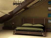 стильный дизайн интерьера спальни на мансарде