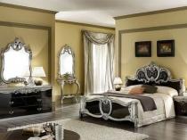 Серо-черная глянцевая мебель для спальне в стиле барокко