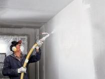 Процесс нанесения на стену штукатурки механизированным способом