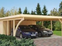 Деревянный навес под односкатной крышей для автомобиля