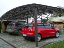 Металлический навес с хозблоком для двух автомобилей