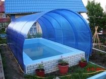 Навес из сотового поликарбоната для бассейна