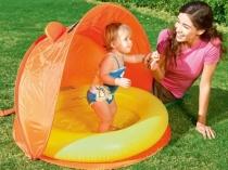 Детский надувной бассейн под складным навесом
