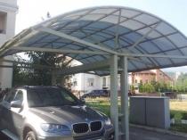 Консольная конструкция металлического навеса для двух машин