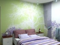 Обои с одиночным рисунком в интерьере спальни