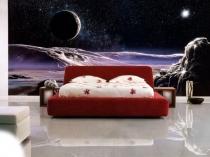 Современная спальня с 3d обоями на стене