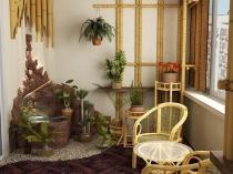Бамбук и декоративный камень помогут преобразить балкон