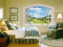 Декоративное художественное оформление фальшокна в спальне