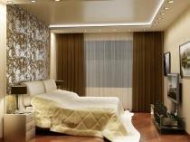 Освещение спальни при помощи расположенных по периметру точечных светильников