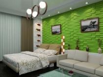 Отделка стены спальни гипсовыми панелями яркого цвета