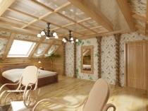 фото спальни на мансардном этаже