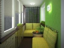 Зона отдыха и спальное место на балконе