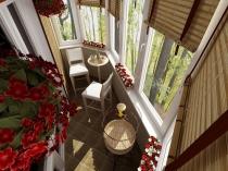 Зона для отдыха и чаепития на балконе