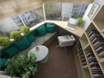Совмещение зоны отдыха и кабинета на лоджии