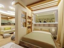 Перегородка-стеллаж в спальне гостиной