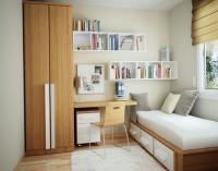 Небольшая спальня с оборудованным рабочим местом