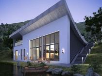 Оригинальный дизайн дома с покраской фасада по штукатурке
