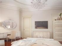 Классическая спальня с покраской штукатуренных стен бежевым цветом