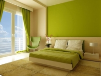 Ярко-зеленая краска для декорирования штукатурной отделки