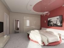 Комбинация натяжной и подвесной систем в дизайне потолка спальни