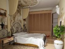Подвесной потолок с декоративной вставкой в спальне