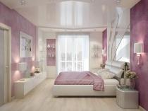 Встроенные светильники в натяжной двухуровневый потолок спальни