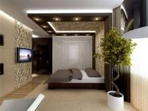 Декоративное растение в интерьере современной спальни
