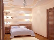 Ремонт спальни с розово-бежевой отделкой стен