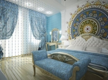 Художественная роспись стены в спальне после ремонта