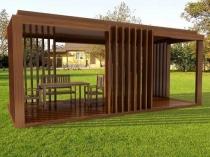 Деревянная беседка прямоугольной конструкции