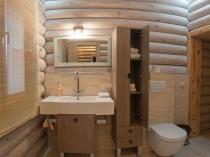 Оригинальный дизайн санузла в бревенчатом доме