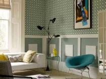 Серо-зеленые обои для комнаты в стиле ретро