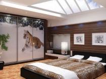 Шкаф-купе с фотопечатью для спальни в этно-стиле