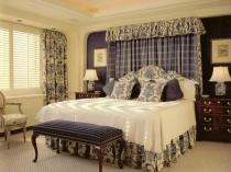 Шторы с орнаментом под текстиль спальни
