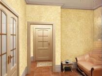 Классический интерьер гостиной с оформлением стен шелковой штукатуркой