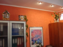 Штукатурка короед оранжевого цвета в отделке стен офиса