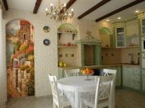Художественная роспись и штукатурка под кирпичную кладку в кухне
