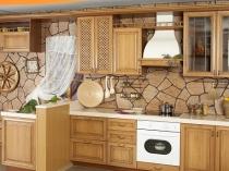 Декорирование стен кухни фактурной штукатуркой под камень
